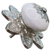 pure white knob - 'star' fitting with silver flower back plate